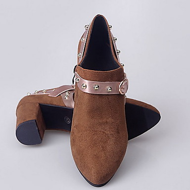 povoljno Ženske cipele-Žene Čizme Ravna potpetica Okrugli Toe Brušena koža Jesen zima Tamno smeđa / Vojska Green