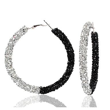 abordables Boucle d'Oreille-Femme Or Noir Vert Boucle d'Oreille Créoles Boucles d'Oreille Géométrique Donuts Coréen Doux Mode Le style mignon Coloré Imitation Diamant Des boucles d'oreilles Bijoux Noir et Or / Preto e Prateado