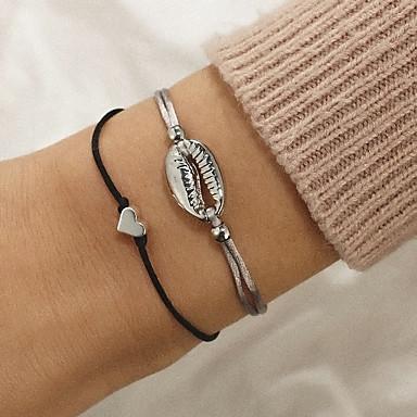 abordables Bracelet-2pcs Bracelet à maillons fait main Femme Tressé Cœur Coquillage simple Bracelet Bijoux Argent pour Cadeau Quotidien Vacances Travail Festival