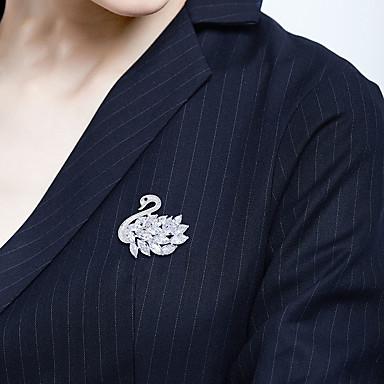 voordelige Dames Sieraden-Dames Broches Klassiek Zwaan Artistiek Luxe Elegant Broche Sieraden Zilver Voor Bruiloft Verloving Lahja Werk Belofte