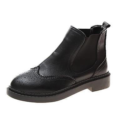 voordelige Dameslaarzen-Dames Laarzen Lage hak Ronde Teen PU / Elastische stof Lente / Herfst winter Zwart
