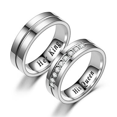 billige Ringer for Par-Par Parringer / Ring 1pc Hvit / Sølv Rustfritt Stål Sirkelformet Vintage / Grunnleggende / Mote Love Kostyme smykker