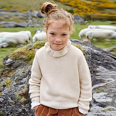 baratos Suéteres & Cardigans para Meninas-Infantil Para Meninas Moda de Rua Sólido Manga Longa Suéter & Cardigan Bege