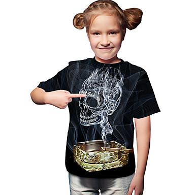 baratos Blusas para Meninas-Infantil Bébé Para Meninas Activo Básico Geométrica Estampado Estampado Manga Curta Camiseta Preto