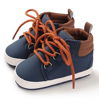 baratos Super Ofertas-Para Meninos Algodão / Couro Ecológico Botas Crianças (0-9m) / Criança (9m-4ys) Primeiros Passos Preto / Azul Escuro / Cinzento Outono / Inverno