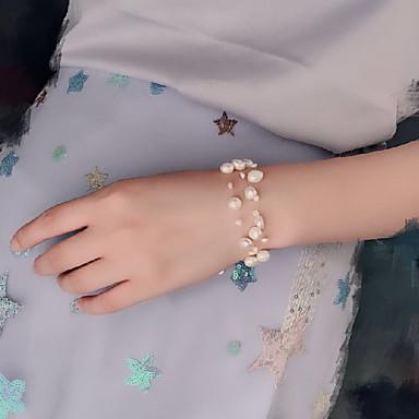 baratos Bijuteria de Mulher-Mulheres Pulseiras com Miçangas tear Bracelet Entrançado Precioso Clássico Fashion Estilo bonito Pérola Pulseira de jóias Branco Para Presente Diário Feriado Promessa / Chapeado Dourado
