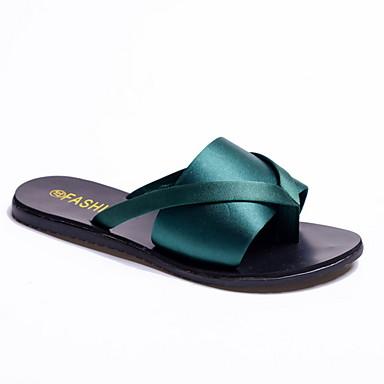 voordelige Damespantoffels & slippers-Dames Slippers & Flip-Flops Platte hak Ronde Teen Suède Zomer Zwart / Groen / Leger Groen