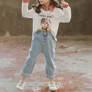 baratos Conjuntos para Meninas-Infantil Bébé Para Meninas Básico Moda de Rua Para Noite Casual Geométrica Xadrez Com Corte Estampado Manga Longa Curto Curto Conjunto Vermelho