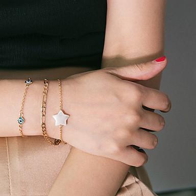 billige Motearmbånd-3pcs Dame Armbånd Klassisk Øyne Dyrebar Klassisk Mote Elegant Perle Armbånd Smykker Gull Til Gave