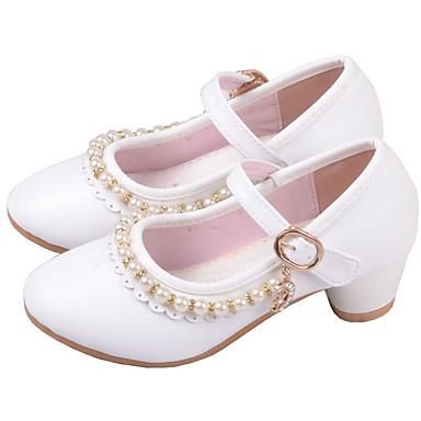 baratos Sapatos de Criança-Para Meninas Microfibra Saltos Little Kids (4-7 anos) Sapatos para Daminhas de Honra Pedrarias Branco / Rosa claro Verão