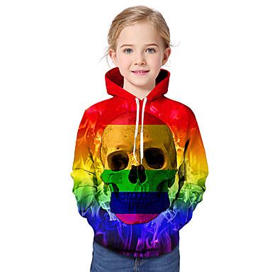baratos Moletons Para Meninas-Infantil Bébé Para Meninas Activo Básico Estampado Estampa Colorida Arco-Íris Estampado Manga Longa Moleton & Blusa de Frio Arco-íris