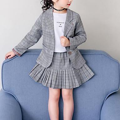 baratos Conjuntos para Meninas-Infantil Para Meninas Activo Moda de Rua Para Noite Casual Xadrez Pregueado Manga Longa Padrão Conjunto Cinzento