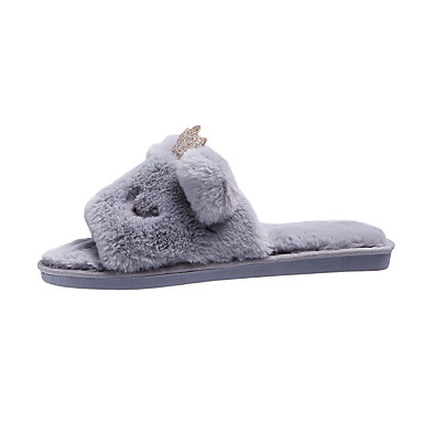 voordelige Damespantoffels & slippers-Dames Slippers & Flip-Flops Platte hak Open teen Imitatiebont Zoet / minimalisme Herfst winter Zwart / Roze / Beige