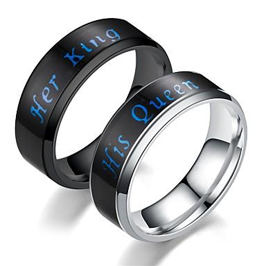 voordelige Herensieraden-Heren Ring 1pc Zwart Zilver Roestvast staal Cirkelvormig Vintage Standaard Modieus Lahja Sieraden Kroon Cool