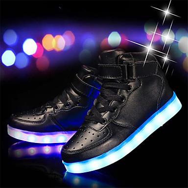 preiswerte Schuhe für Kinder-Jungen Leder / PU Sneakers Kleine Kinder (4-7 Jahre) / Große Kinder (ab 7 Jahren) Komfort / Leuchtende LED-Schuhe Schwarz / Silber / Weiß Frühling / Gummi