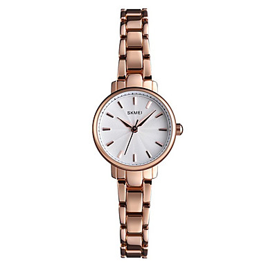 baratos Relógios Senhora-SKMEI Mulheres Relógios de Quartzo Nova chegada Fashion Prata Ouro Rose Lega Chinês Quartzo Rosa Dourado Prata Impermeável Relógio Casual 30 m Analógico