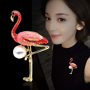 baratos Bijuteria de Mulher-Mulheres Broches Tropical Flamingo Luxo Elegante Colorido Pérola Chapeado Dourado Broche Jóias Vermelho e Rosa Branco / Rosa Para Casamento Noivado Presente Trabalho Promessa