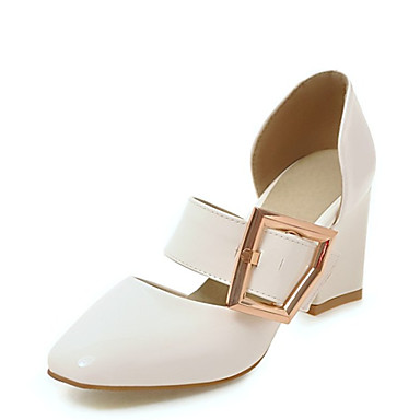 Kadın's Sandaletler Kalın Topuk Kapalı Burun Toka Suni Deri Günlük / Minimalizm Yürüyüş İlkbahar & Kış / İlkbahar yaz Siyah / Beyaz / Pembe