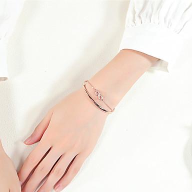 voordelige Dames Sieraden-Dames Zirkonia Cuff armbanden Lasso Oneindigheid modieus Gothic Elegant Koper Armband sieraden Goud Rose Voor Dagelijks School Club