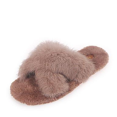 voordelige Damespantoffels & slippers-Dames Slippers & Flip-Flops Platte hak Ronde Teen Rubber Informeel Lente / Herfst winter Zwart / Beige / Khaki