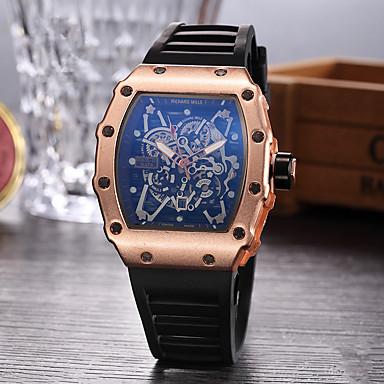 Недорогие Спортивные часы-Муж. Спортивные часы Часы со скелетом Наручные часы Кварцевый Pезина Черный Повседневные часы Аналоговый Кулоны - Черный Серебряный Розовое золото