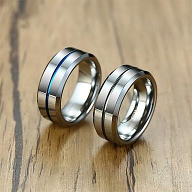 voordelige Herensieraden-Heren Bandring Ring 1pc Donkerblauw Grijs Wolfraamstaal Eenvoudig Luxe Vintage Feest Dagelijks Sieraden Sculptuur Kostbaar