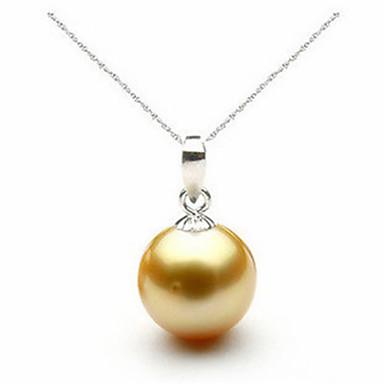 billige Halskjeder-høy kvalitet sølv 925 halskjede og anheng klassisk rund perle anheng mote brud brud smykker egnet for kvinnelige entusiaster perle størrelse 10 mm