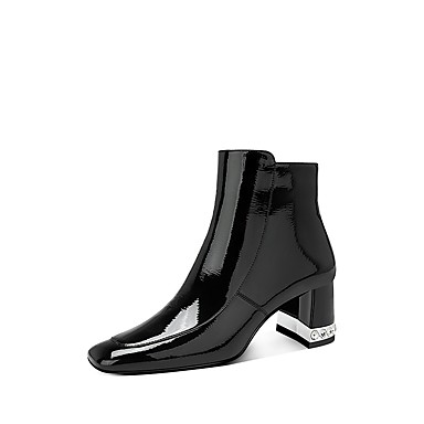 voordelige Dameslaarzen-Dames Laarzen Blokhak Vierkante Teen Lakleer Winter Zwart
