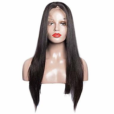 capelli naturali Remy Lace frontale Parrucca stile Brasiliano Liscio Nero Parrucca 180% Densità dei capelli Nero Per donna Lunghezza media Parrucche di capelli umani con retina beikashang