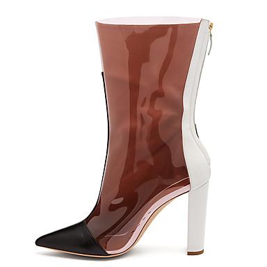 voordelige Dameslaarzen-Dames Laarzen Blokhak Gepuntte Teen Imitatieleer / PVC Kuitlaarzen Brits / minimalisme Lente & Herfst / Winter Bruin / Kleurenblok