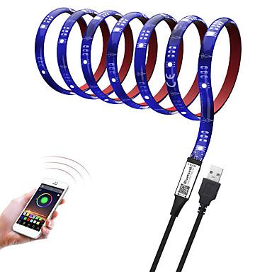 abordables Bandes Lumineuses LED-barre de lumière brelon 5050smd rgb 3m 90led tv lumière de fond bluetooth app control dimmable époxy imperméable adhésif rouge 5v
