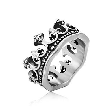 voordelige Herensieraden-Heren Ring 1pc Zilver Titanium Staal Cirkelvormig Vintage Standaard Modieus Bruiloft Sieraden Kroon Cool