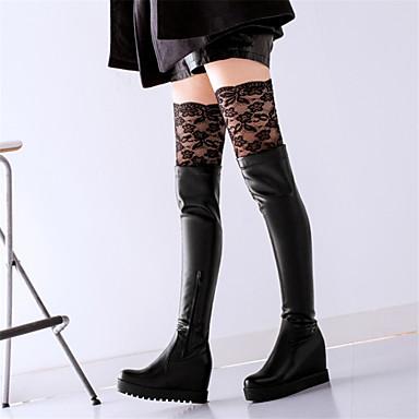 Kadın's Çizmeler Gizli Topuk Yuvarlak Uçlu Dikişli Dantel PU Bilek Üstü Botlar Sonbahar Kış Siyah / Beyaz