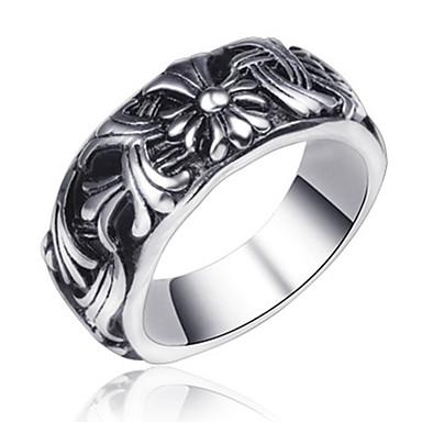 voordelige Dames Sieraden-Heren Bandring Ring Staartring 1pc Zilver Titanium Staal Cirkelvormig Vintage Standaard Modieus Lahja Dagelijks Sieraden Kruis Cool