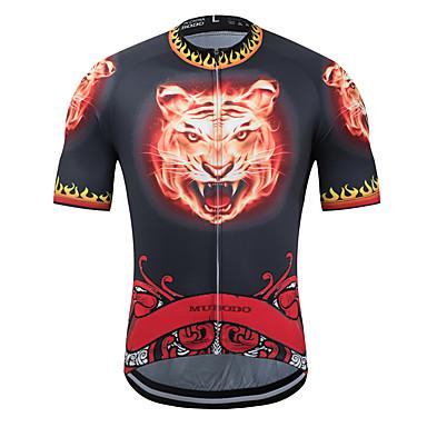 MUBODO Hayvan Tiger Erkek Kısa Kollu Bisiklet Forması - Siyah / kırmızı Bisiklet Forma Üstler Nefes Alabilir Nem Emici Hızlı Kuruma Spor Dalları Terylene Likra Dağ Bisikletçiliği Yol Bisikletçiliği