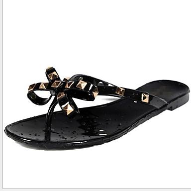 voordelige Damespantoffels & slippers-Dames Slippers & Flip-Flops Platte hak Ronde Teen Strik / Siernagel Microvezel Zomer Zwart / Amandel / Zilver