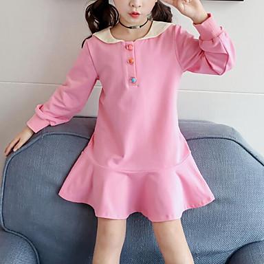baratos Vestidos para Meninas-Infantil Para Meninas Estilo bonito Moda de Rua Retalhos Letra Patchwork Estampado Manga Longa Vestido Preto