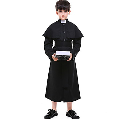 rahip Kostüm Genç Erkek Dini Cadılar Bayramı Performans Tema Partisi Kostümler Genç Erkek Dans kostümleri Polyester Ayrık Renkler