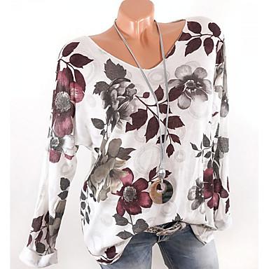 billige Nyheter-V-hals T-skjorte Dame - Blomstret Hvit