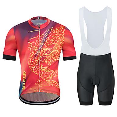 MUBODO Ejderha Erkek Kısa Kollu Askılı Şortlu Bisiklet Forması - Siyah / kırmızı Bisiklet Giysi Takımları Nefes Alabilir Nem Emici Hızlı Kuruma Spor Dalları Tül Dağ Bisikletçiliği Yol Bisikletçiliği