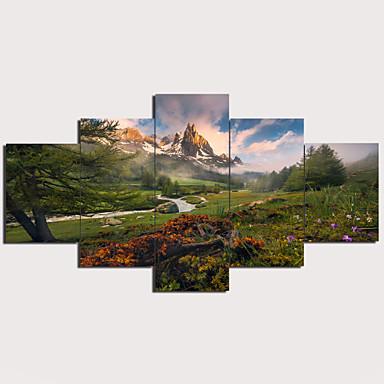 hesapli Tablolar-Boyama Gerdirilmiş Tuval Resimleri - Soyut Geleneksel Modern Beş Panelli Sanatsal Baskılar