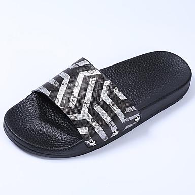voordelige Damespantoffels & slippers-Dames Slippers & Flip-Flops Platte hak Open teen PU Informeel Zomer Zwart / Bruin / Wit / Kleurenblok