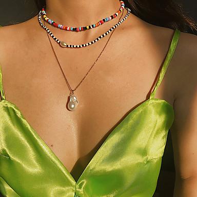 billige Mote Halskjede-Dame Anheng Halskjede Halskjede lagdelte Hals trendy Mote Perle Skall Gull 31 cm Halskjeder Smykker 1pc Til Gave