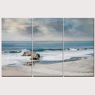 Boyama Gerdirilmiş Tuval Resimleri - Manzara Geleneksel Modern Üç Panelli Sanatsal Baskılar