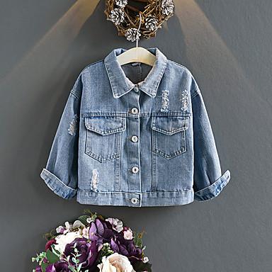 baratos Blusas para Meninas-Bébé Para Meninas Moda de Rua Azul Estampado Bordado Manga Longa Blusa Azul
