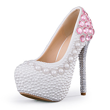 Kadın's Düğün Ayakkabıları Stiletto Topuk Yuvarlak Uçlu Kristal / İmistasyon İnci / Işıltılı Pullar PU Tatlı / Minimalizm İlkbahar yaz / Sonbahar Kış Pembe / Parti ve Gece
