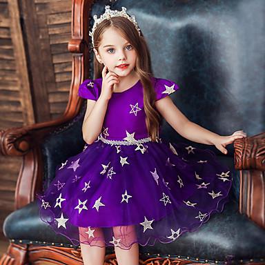billige 10/11-Barn Baby Jente Grunnleggende Søt Galakse Blonde Lapper Trykt mønster Ermeløs Knelang Kjole Rød / Bomull