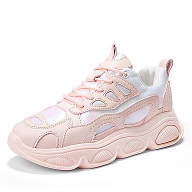 Kadın's Atletik Ayakkabılar Düz Taban Yuvarlak Uçlu PU Sportif / Günlük Koşu İlkbahar yaz / Sonbahar Kış Beyaz / Pembe / Bej