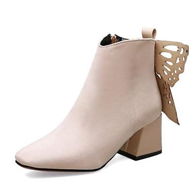 Kadın's Çizmeler Kalın Topuk Dörtgen Uçlu Taşlı / Fiyonk Süet Bootiler / Bilek Botları Sonbahar Kış Siyah / Badem / Sarı