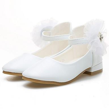 baratos Novidades-Para Meninas Couro Ecológico Saltos Little Kids (4-7 anos) Sapatos para Daminhas de Honra Branco / Rosa claro Outono